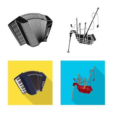 Vector illustration of music and tune sign. Set of music and tool vector icon for stock. Illustration