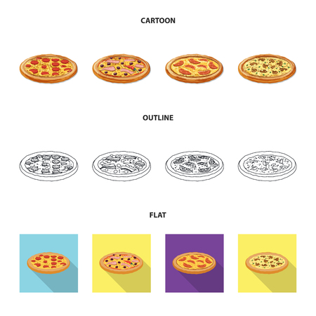 Isolated object of pizza and food sign. Set of pizza and italy stock symbol for web.