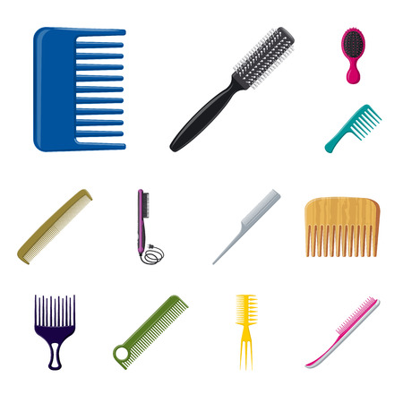 Isolated object of brush and hair sign. Set of brush and hairbrush vector icon for stock.