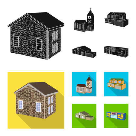 Vector design of facade and housing icon. Collection of facade and infrastructure vector icon for stock.