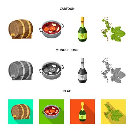 Vector illustration of farm and vineyard logo. Collection of farm and product vector icon for stock.