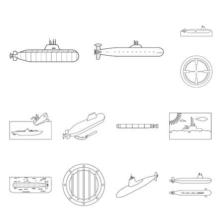 Vector illustration of boat and navy icon. Collection of boat and deep   stock vector illustration.