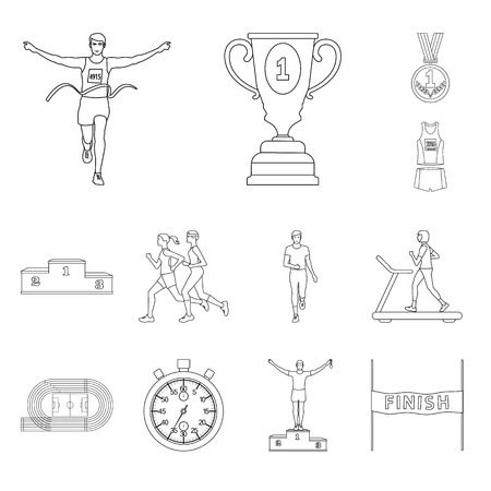 Vector design of exercise and sprinter sign. Collection of exercise and marathon stock vector illustration.