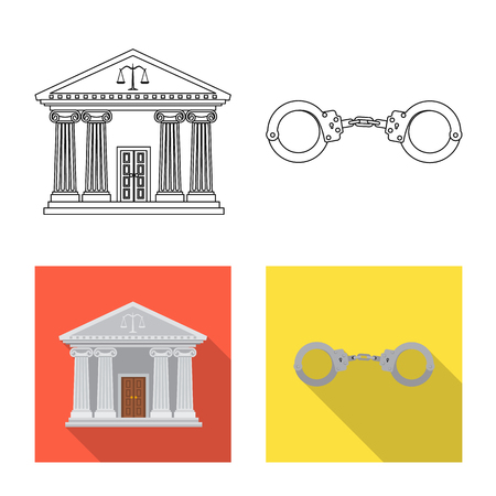 Vector design of law and lawyer sign. Collection of law and justice vector icon for stock.