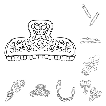 Vector design of hairdressing and hairclip logo. Set of hairdressing and accessories vector icon for stock. Ilustração