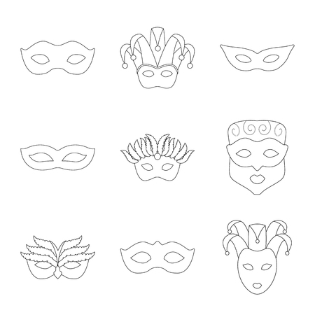 Isolated object of masquerade and mystery sign. Set of masquerade and festival vector icon for stock.