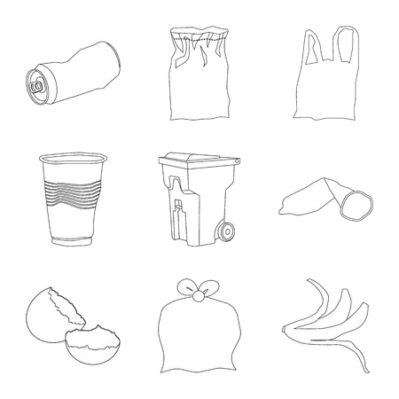 Isolated object of garbage and ecology icon. Collection of garbage and recycling stock symbol for web.