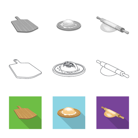 Vector illustration of pizza and food symbol. Collection of pizza and italy stock vector illustration.