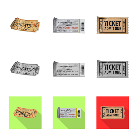 Isolated object of ticket and admission logo. Set of ticket and event stock symbol for web.