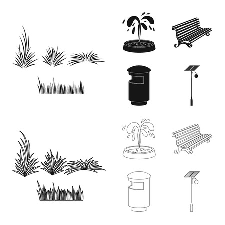 Vector illustration of urban and street icon. Collection of urban and relaxation stock symbol for web. Illustration