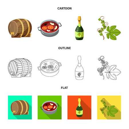 Vector illustration of farm and vineyard icon. Collection of farm and product stock vector illustration. Illustration