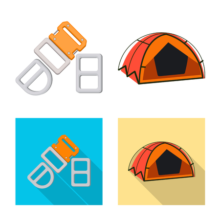 Isolated object of mountaineering and peak sign. Collection of mountaineering and camp stock symbol for web. Illustration