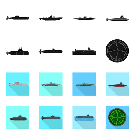 Vector design of war  and ship icon. Set of war  and fleet stock vector illustration. Ilustrace