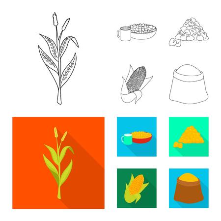 Vector illustration of cornfield and vegetable sign. Set of cornfield and vegetarian stock vector illustration.