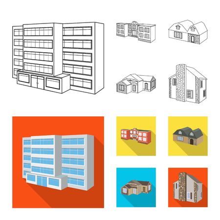 Vector design of facade and housing icon. Collection of facade and infrastructure stock symbol for web.