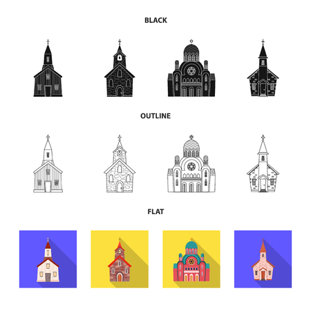 Vector design of cult and temple icon. Set of cult and parish stock symbol for web. Ilustrace