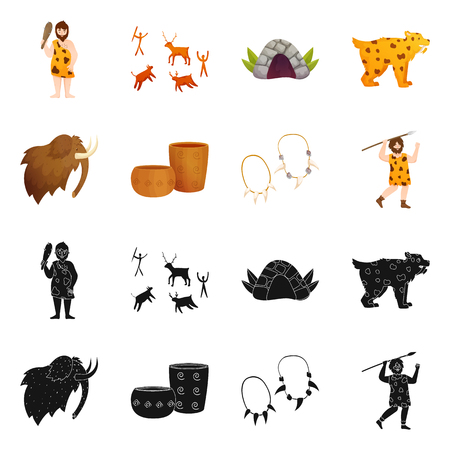Isolated object of evolution and neolithic symbol. Set of evolution and primeval vector icon for stock.