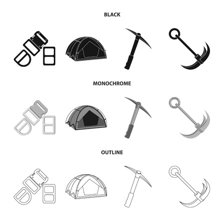 Isolated object of mountaineering and peak logo. Set of mountaineering and camp stock vector illustration.