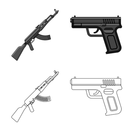 Isolated object of weapon and gun sign. Collection of weapon and army stock vector illustration. Ilustração