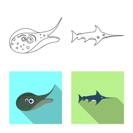 Vector design of sea and animal. Collection of sea and marine stock vector illustration. Ilustração