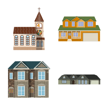 Vector design of building and front. Collection of building and roof stock vector illustration. Illustration
