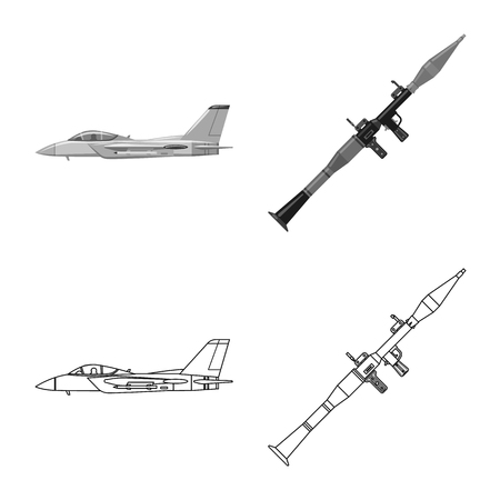 Vector design of weapon and gun. Collection of weapon and army stock symbol for web.
