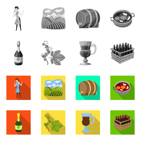 Isolated object of farm and vineyard symbol. Set of farm and product stock vector illustration. Illustration
