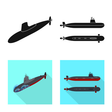 Vector illustration of war  and ship icon. Collection of war  and fleet stock vector illustration.