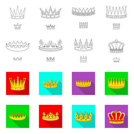 Vector design of medieval and nobility symbol. Set of medieval and monarchy stock vector illustration.
