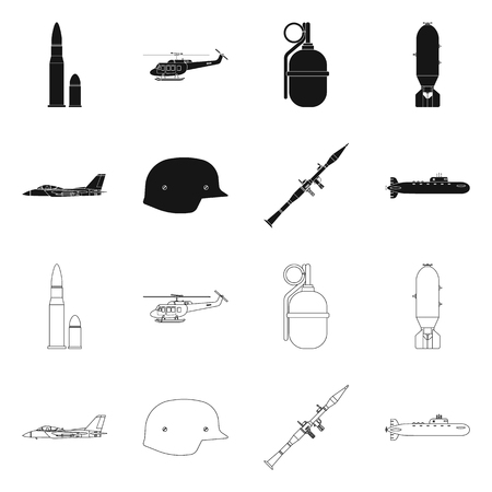 Isolated object of weapon and gun sign. Collection of weapon and army stock vector illustration. Illustration