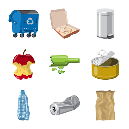 Vektordesign des Umwelt- und Abfallzeichens. Satz von Umwelt- und Ökologie-Aktiensymbolen für das Web.
