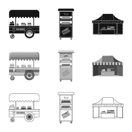 Vector design of market and exterior. Collection of market and food stock vector illustration.