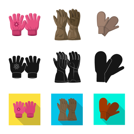 Isolated object of glove and winter sign. Set of glove and equipment stock vector illustration. Illustration
