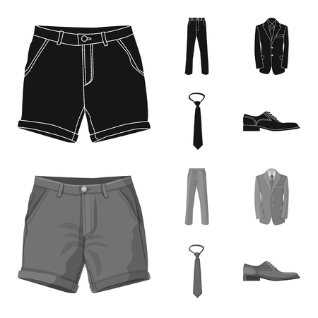 Vector illustration of man and clothing. Collection of man and wear stock symbol for web.
