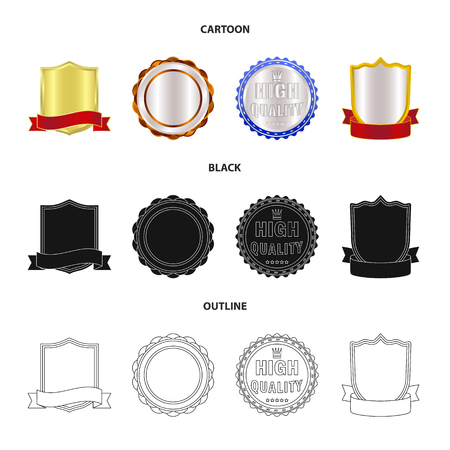 Vector illustration of emblem and badge. Set of emblem and sticker vector icon for stock. Stock Illustratie