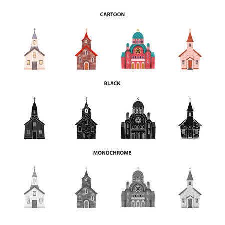 Isolated object of cult and temple sign. Set of cult and parish vector icon for stock. Illustration