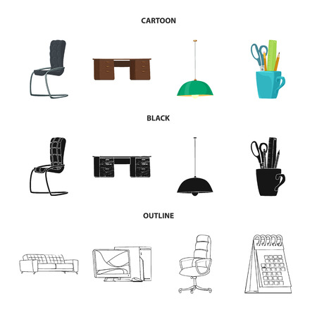 Vector illustration of furniture and work sign. Collection of furniture and home vector icon for stock.
