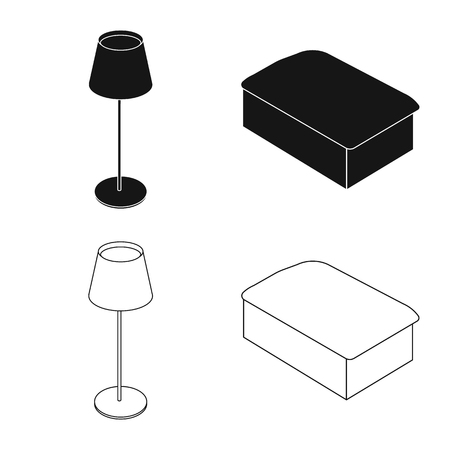 Isolated object of bedroom and room symbol. Set of bedroom and furniture stock symbol for web.