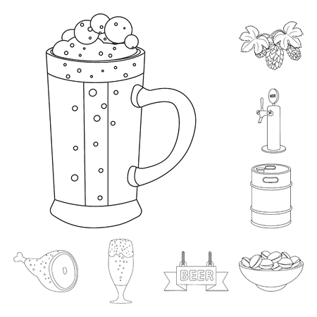 Vector illustration of pub and bar symbol. Set of pub and interior vector icon for stock.