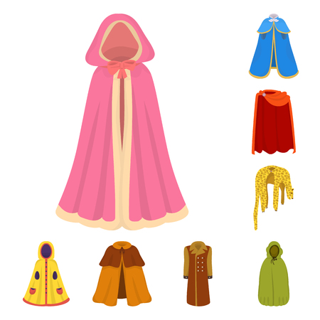 Isolated object of cloak and clothes symbol. Collection of cloak and garment vector icon for stock.