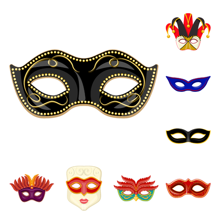 Isolated object of carnival and theatrical sign. Set of carnival and mystery stock vector illustration. Ilustração