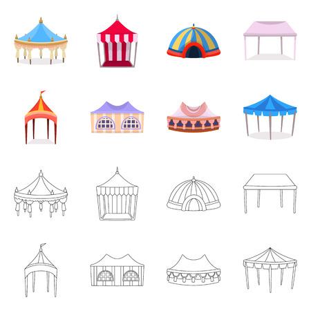 Diseño vectorial de techo y logo plegable. Colección de icono de vector de techo y arquitectura para stock.
