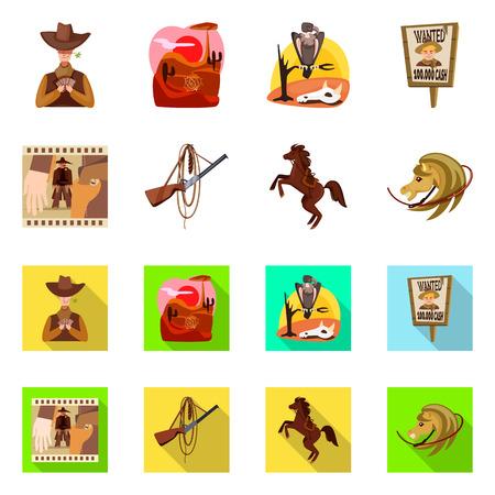 Ilustración de vector de icono de texas e historia. Colección de símbolo de stock de texas y cultura para web.
