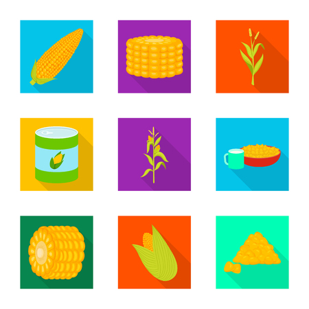 Isolated object of cornfield and vegetable symbol. Set of cornfield and vegetarian stock vector illustration.