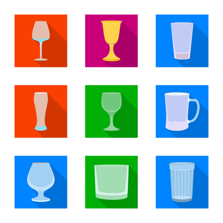 Vector design of drinks and restaurant logo. Collection of drinks and celebration stock vector illustration.