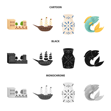 Vector design of  and historic logo. Collection of  and country stock vector illustration.