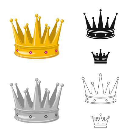 Vector illustration of medieval and nobility icon. Collection of medieval and monarchy stock symbol for web. Banque d'images - 122622518