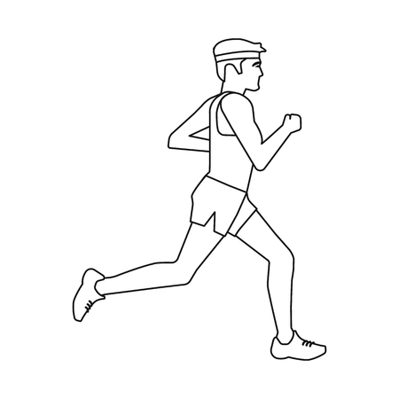 Isolated object of exercise and sprinter  icon. Set of exercise and marathon vector icon for stock. 일러스트