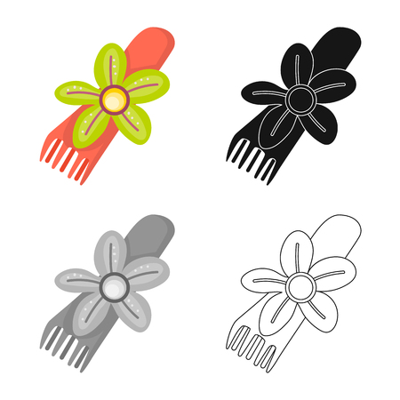 Isolated object of comb and shape icon. Collection of comb and hairdo vector icon for stock.