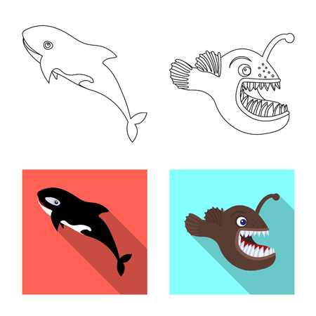 Isolated object of sea and animal symbol. Collection of sea and marine stock vector illustration.